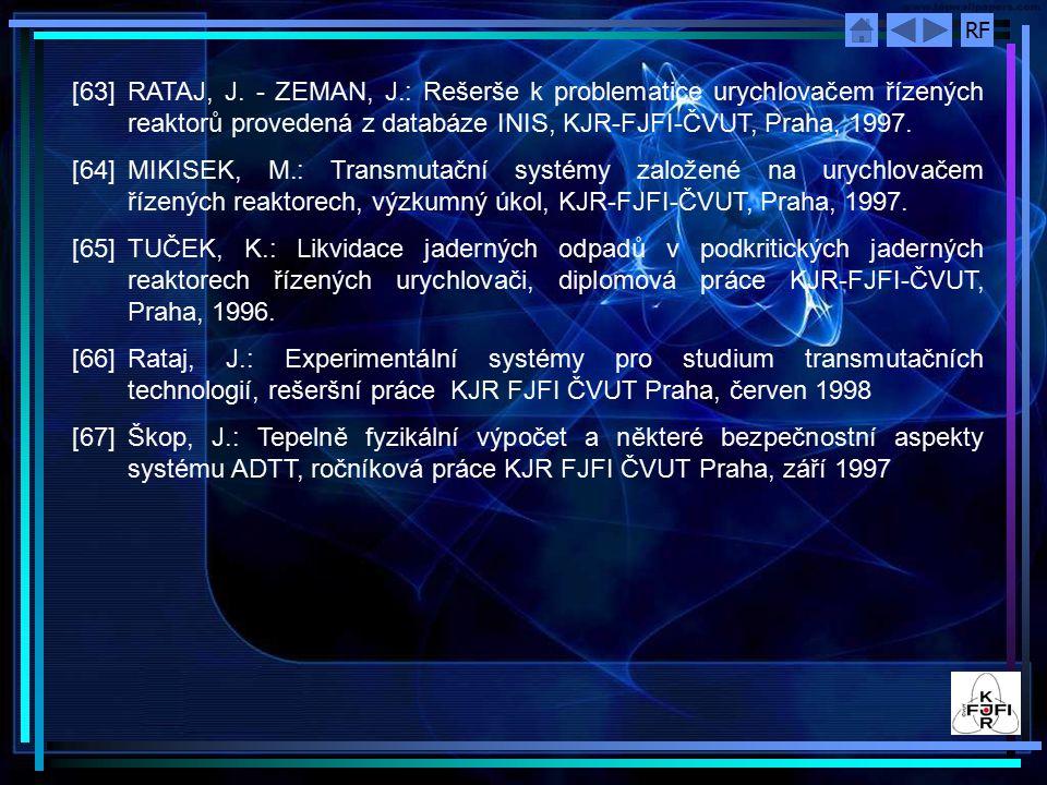 [63] RATAJ, J. - ZEMAN, J.: Rešerše k problematice urychlovačem řízených reaktorů provedená z databáze INIS, KJR-FJFI-ČVUT, Praha, 1997.
